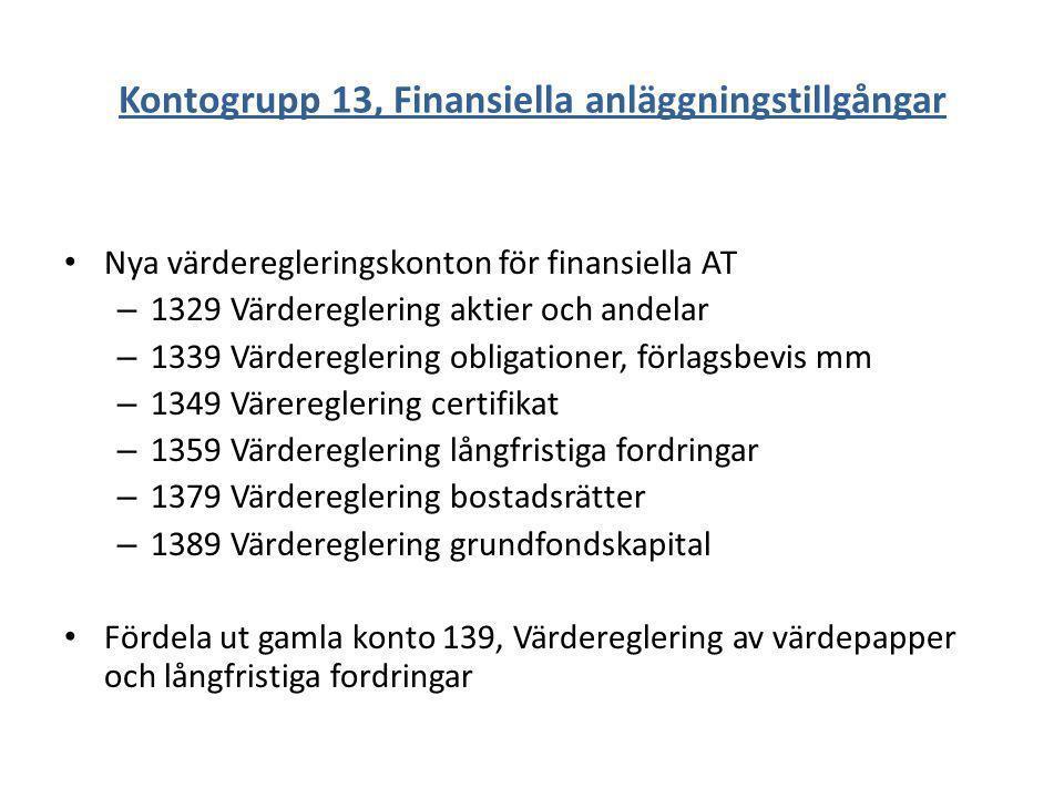 Kontogrupp 13, Finansiella anläggningstillgångar Nya värderegleringskonton för finansiella AT – 1329 Värdereglering aktier och andelar – 1339 Värdereg