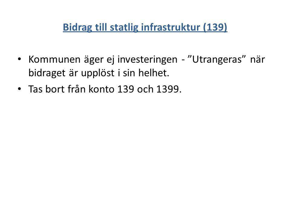 """Bidrag till statlig infrastruktur (139) Kommunen äger ej investeringen - """"Utrangeras"""" när bidraget är upplöst i sin helhet. Tas bort från konto 139 oc"""