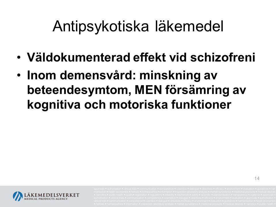 Antipsykotiska läkemedel Väldokumenterad effekt vid schizofreni Inom demensvård: minskning av beteendesymtom, MEN försämring av kognitiva och motorisk