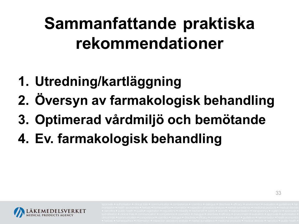 Sammanfattande praktiska rekommendationer 1.Utredning/kartläggning 2.Översyn av farmakologisk behandling 3.Optimerad vårdmiljö och bemötande 4.Ev. far