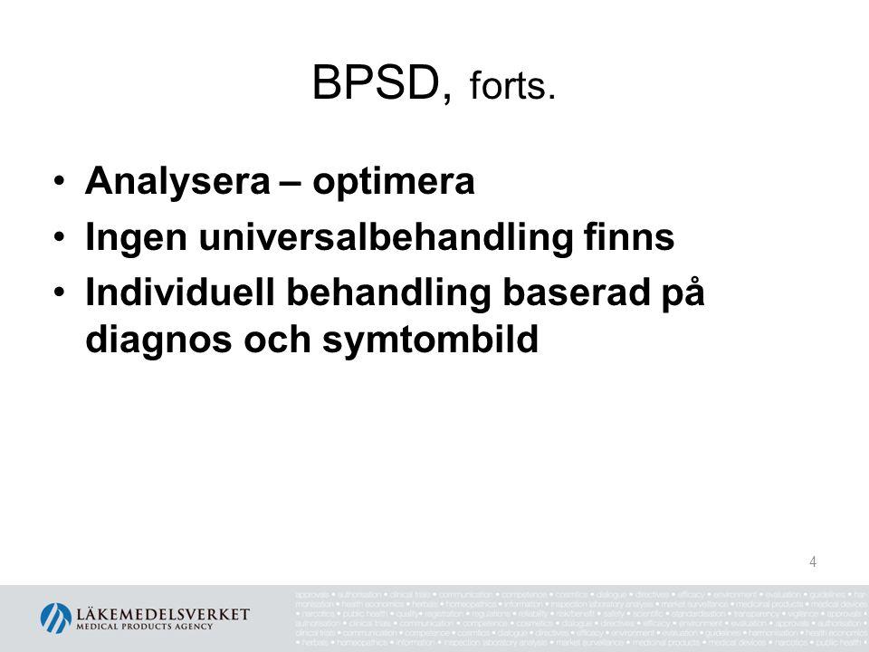 BPSD, forts. Analysera – optimera Ingen universalbehandling finns Individuell behandling baserad på diagnos och symtombild 4