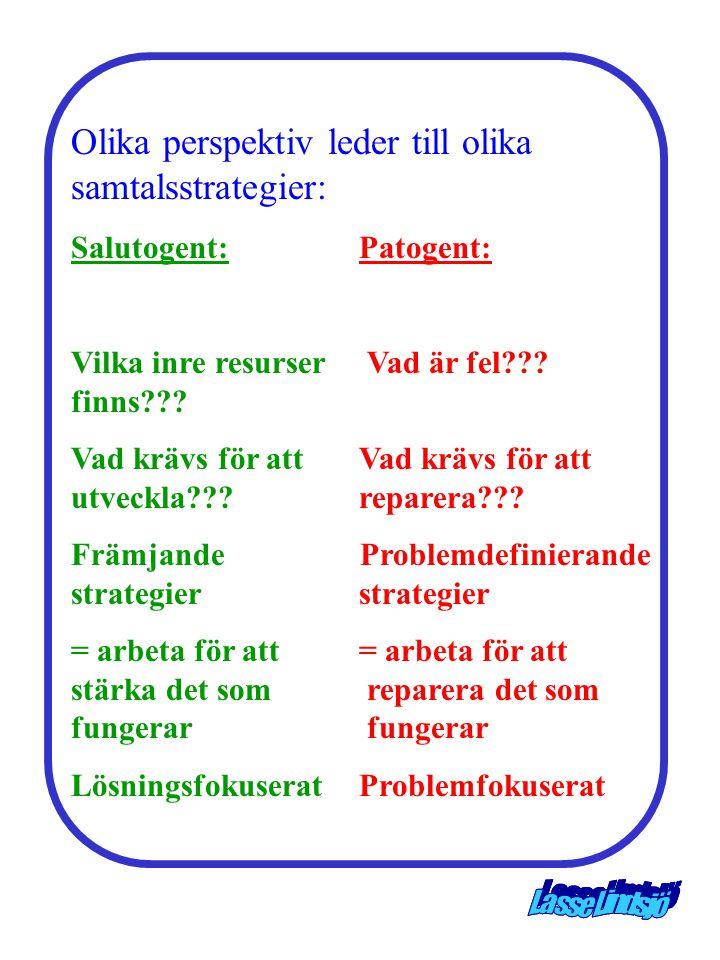 Olika perspektiv leder till olika samtalsstrategier: Salutogent:Patogent: Vilka inre resurser Vad är fel??.