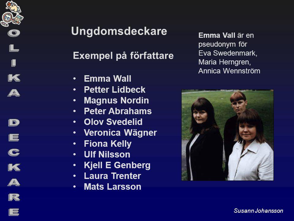 Ungdomsdeckare Exempel på författare Emma Wall Petter Lidbeck Magnus Nordin Peter Abrahams Olov Svedelid Veronica Wägner Fiona Kelly Ulf Nilsson Kjell