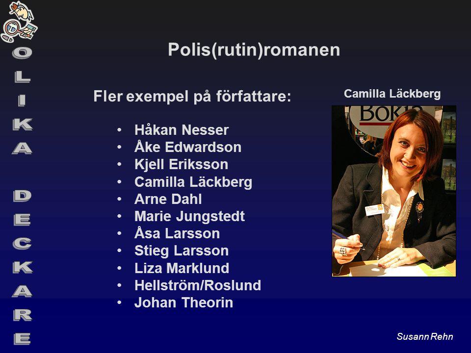 Polis(rutin)romanen Fler exempel på författare: Håkan Nesser Åke Edwardson Kjell Eriksson Camilla Läckberg Arne Dahl Marie Jungstedt Åsa Larsson Stieg