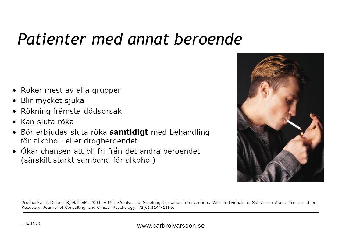 2014-11-23 Röker mest av alla grupper Blir mycket sjuka Rökning främsta dödsorsak Kan sluta röka Bör erbjudas sluta röka samtidigt med behandling för