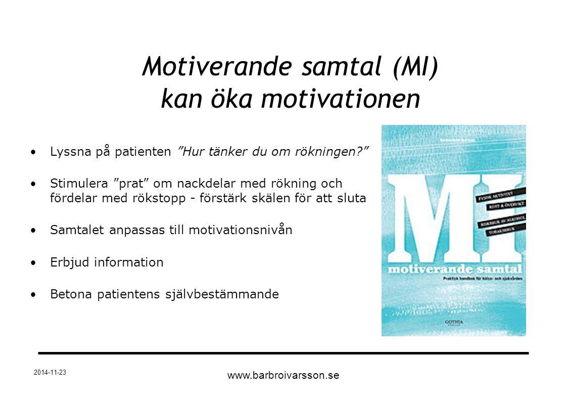 """2014-11-23 Motiverande samtal (MI) kan öka motivationen Lyssna på patienten """"Hur tänker du om rökningen?"""" Stimulera """"prat"""" om nackdelar med rökning oc"""