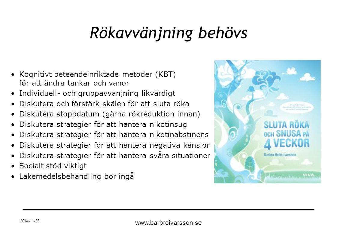 Rökavvänjning behövs Kognitivt beteendeinriktade metoder (KBT) för att ändra tankar och vanor Individuell- och gruppavvänjning likvärdigt Diskutera oc
