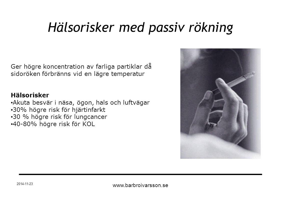 Hälsorisker med passiv rökning 2014-11-23 www.barbroivarsson.se Ger högre koncentration av farliga partiklar då sidoröken förbränns vid en lägre tempe