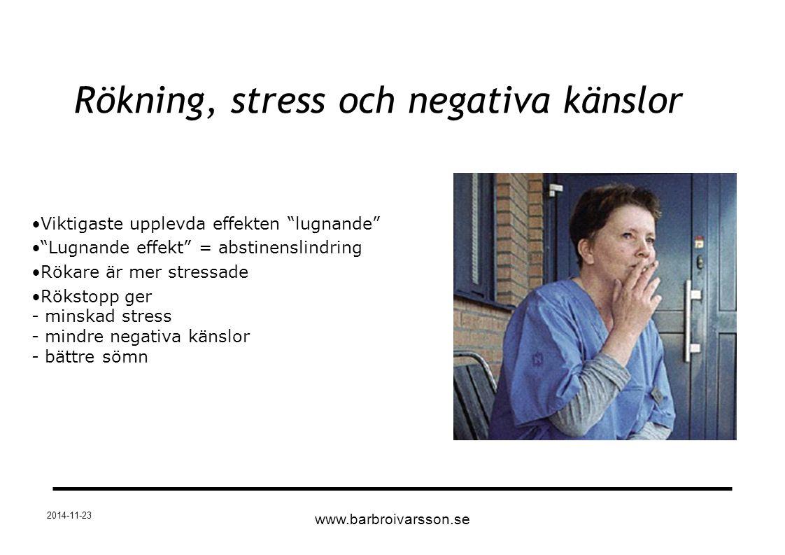 """2014-11-23 Viktigaste upplevda effekten """"lugnande"""" """"Lugnande effekt"""" = abstinenslindring Rökare är mer stressade Rökstopp ger - minskad stress - mindr"""