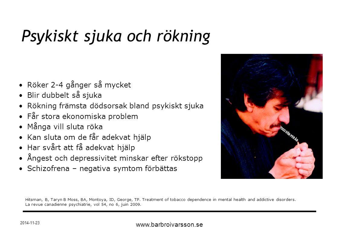 2014-11-23 Röker 2-4 gånger så mycket Blir dubbelt så sjuka Rökning främsta dödsorsak bland psykiskt sjuka Får stora ekonomiska problem Många vill slu