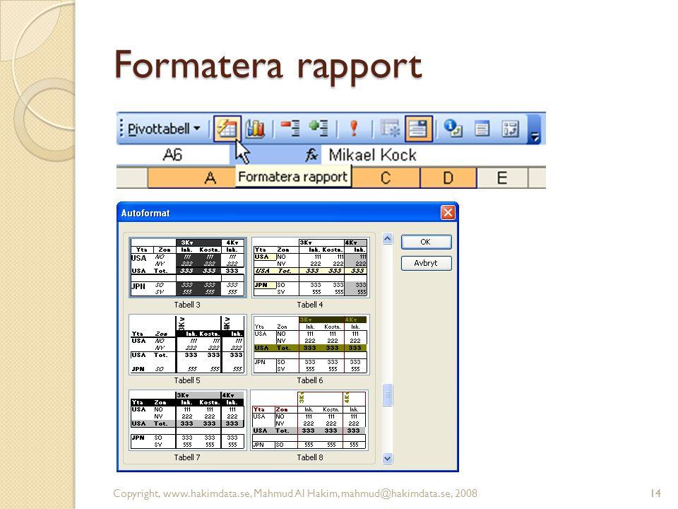 14 Formatera rapport Copyright, www.hakimdata.se, Mahmud Al Hakim, mahmud@hakimdata.se, 200814