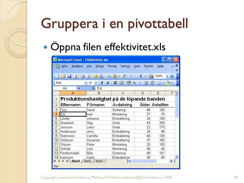 19 Gruppera i en pivottabell Öppna filen effektivitet.xls Copyright, www.hakimdata.se, Mahmud Al Hakim, mahmud@hakimdata.se, 200819