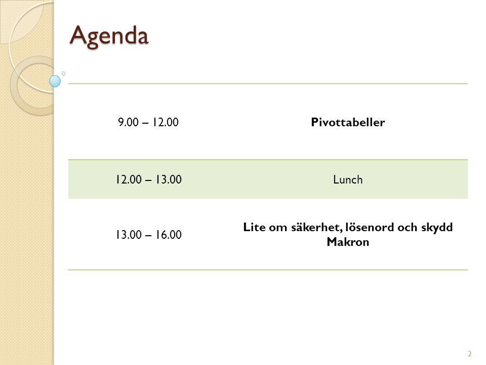 2 Agenda 9.00 – 12.00Pivottabeller 12.00 – 13.00Lunch 13.00 – 16.00 Lite om säkerhet, lösenord och skydd Makron 2