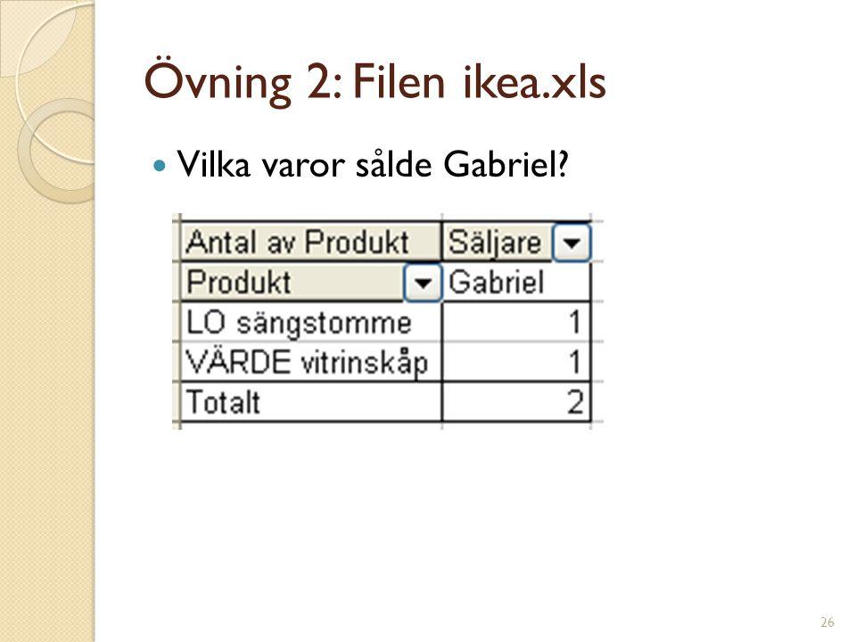 26 Övning 2: Filen ikea.xls Vilka varor sålde Gabriel?