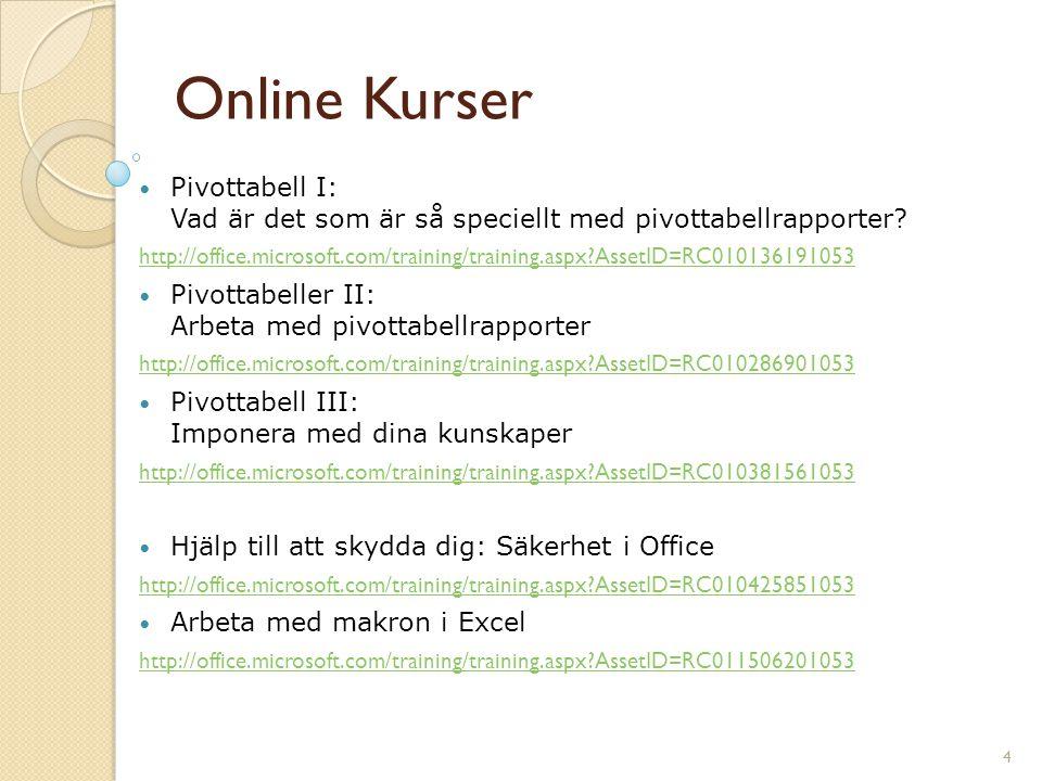 4 Online Kurser Pivottabell I: Vad är det som är så speciellt med pivottabellrapporter? http://office.microsoft.com/training/training.aspx?AssetID=RC0