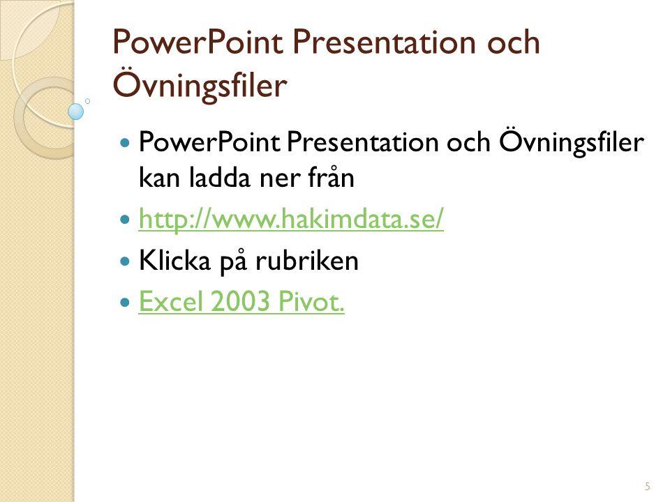 5 PowerPoint Presentation och Övningsfiler PowerPoint Presentation och Övningsfiler kan ladda ner från http://www.hakimdata.se/ Klicka på rubriken Exc