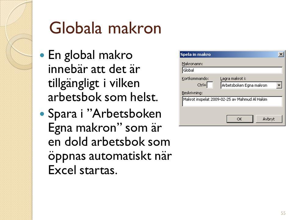 """55 Globala makron En global makro innebär att det är tillgängligt i vilken arbetsbok som helst. Spara i """"Arbetsboken Egna makron"""" som är en dold arbet"""