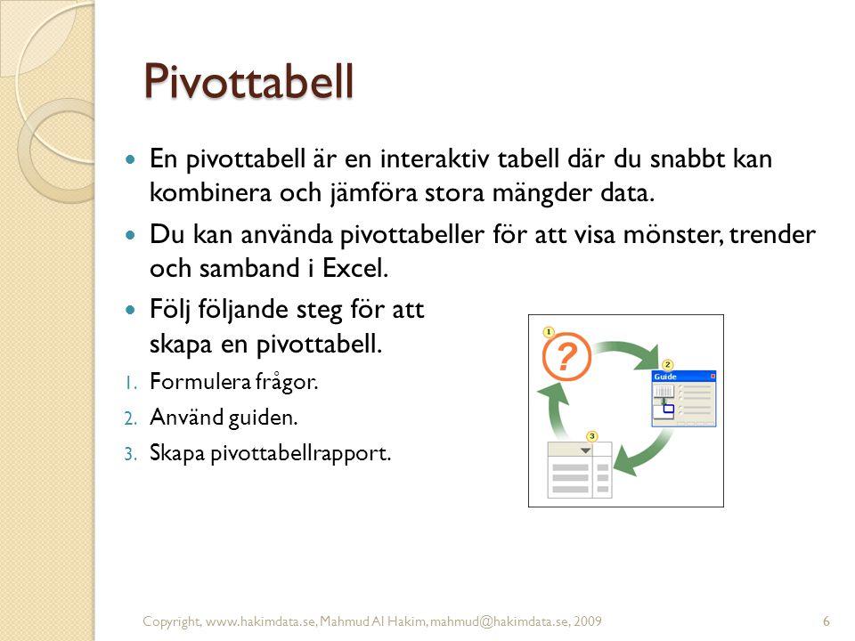 6 Pivottabell En pivottabell är en interaktiv tabell där du snabbt kan kombinera och jämföra stora mängder data. Du kan använda pivottabeller för att