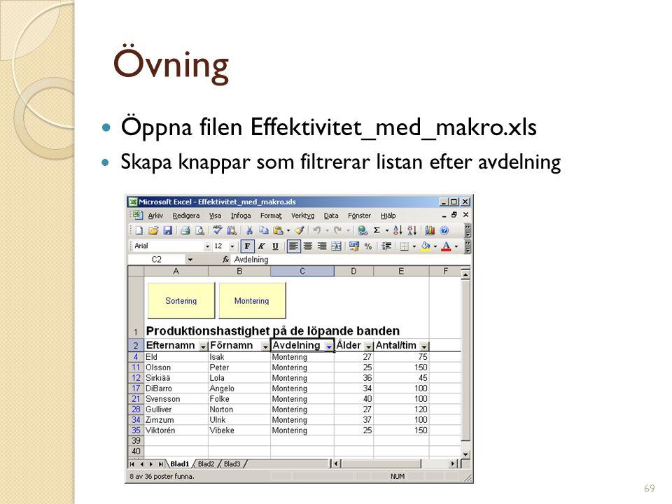69 Övning Öppna filen Effektivitet_med_makro.xls Skapa knappar som filtrerar listan efter avdelning