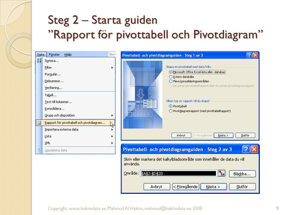 """9 Steg 2 – Starta guiden """"Rapport för pivottabell och Pivotdiagram"""" Copyright, www.hakimdata.se, Mahmud Al Hakim, mahmud@hakimdata.se, 20089"""