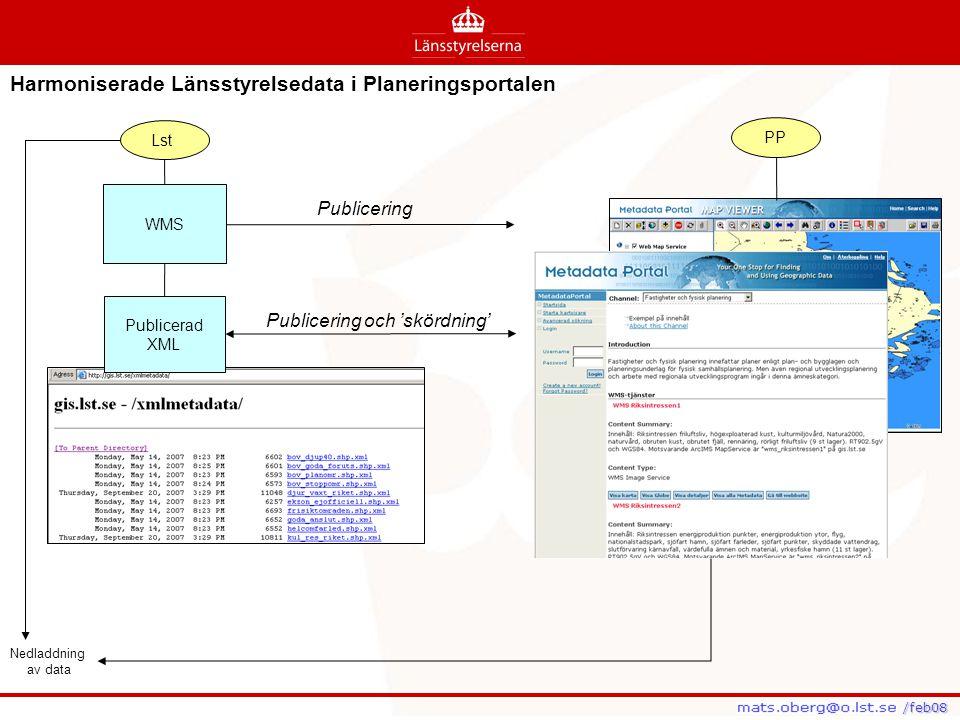 /feb08 /feb08 Harmoniserade Länsstyrelsedata i Planeringsportalen Lst PP Nedladdning av data WMS Publicerad XML Publicering Publicering och 'skördning
