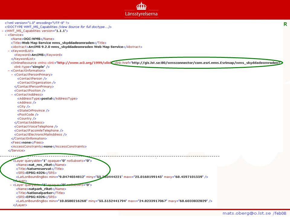 /feb08 /feb08 Ett GetMap-anrop (från en MapServer-baserad WMS): http://www2.dmsolutions.ca/cgi- bin/mswms_world?SERVICE=WMS&VeRsIoN=1.1.1&Request=GetMap&LAYERS= WorldGen_Outline http://www2.dmsolutions.ca/cgi- bin/mswms_world?SERVICE=WMS&VeRsIoN=1.1.1&Request=GetMap&LAYERS= WorldGen_Outline Filter- och SLD-fil: http://194.16.71.102/SIS/africa.xml, http://194.16.71.102/SIS/africa_europe.xml http://194.16.71.102/SIS/africa.xmlhttp://194.16.71.102/SIS/africa_europe.xml Resultat: http://www2.dmsolutions.ca/cgi- bin/mswms_world?SERVICE=WMS&VeRsIoN=1.1.1&Request=GetMap&LAYERS= WorldGen_Outline&SLD=http://194.16.71.102/SIS/africa.xml http://www2.dmsolutions.ca/cgi- bin/mswms_world?SERVICE=WMS&VeRsIoN=1.1.1&Request=GetMap&LAYERS= WorldGen_Outline&SLD=http://194.16.71.102/SIS/africa.xml http://www2.dmsolutions.ca/cgi- bin/mswms_world?SERVICE=WMS&VeRsIoN=1.1.1&Request=GetMap&LAYERS= WorldGen_Outline&SLD=http://194.16.71.102/SIS/africa_europe.xmlhttp://www2.dmsolutions.ca/cgi- bin/mswms_world?SERVICE=WMS&VeRsIoN=1.1.1&Request=GetMap&LAYERS= WorldGen_Outline&SLD=http://194.16.71.102/SIS/africa_europe.xml