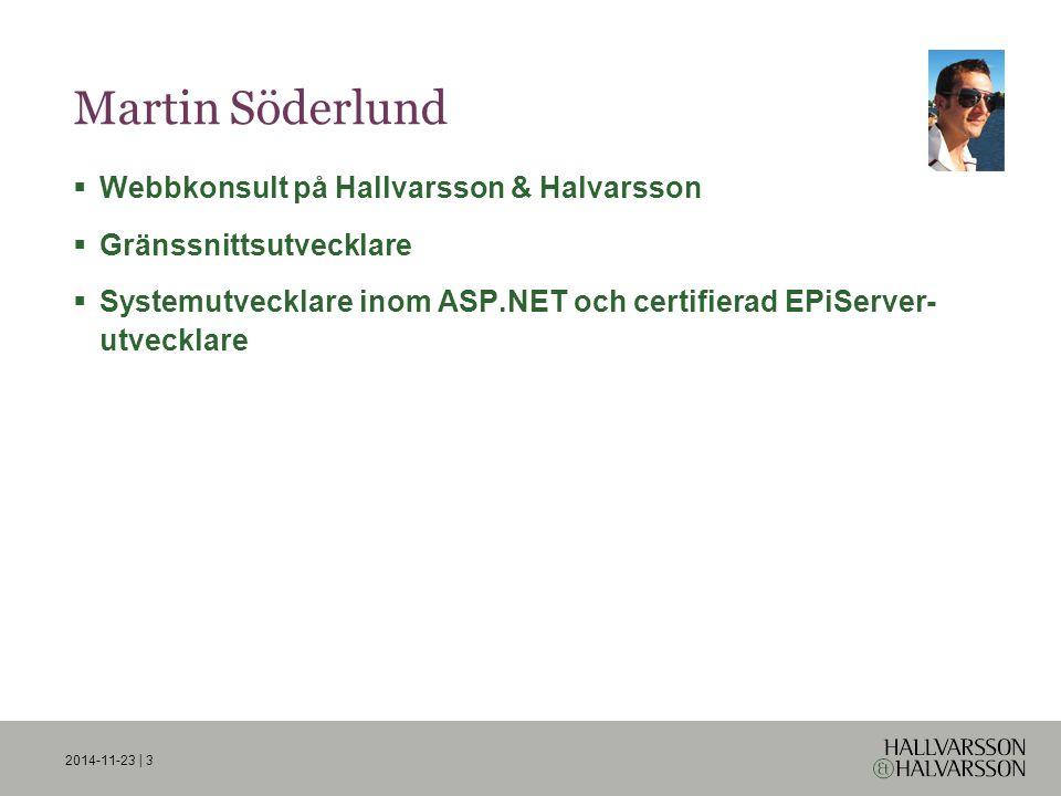 2014-11-23 | 3 Martin Söderlund  Webbkonsult på Hallvarsson & Halvarsson  Gränssnittsutvecklare  Systemutvecklare inom ASP.NET och certifierad EPiServer- utvecklare
