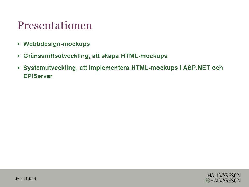 Exempel med extension methods  Utöka string:  Exempel på användning tillsammans med Joels PageTypeBuilder: 2014-11-23 | 15