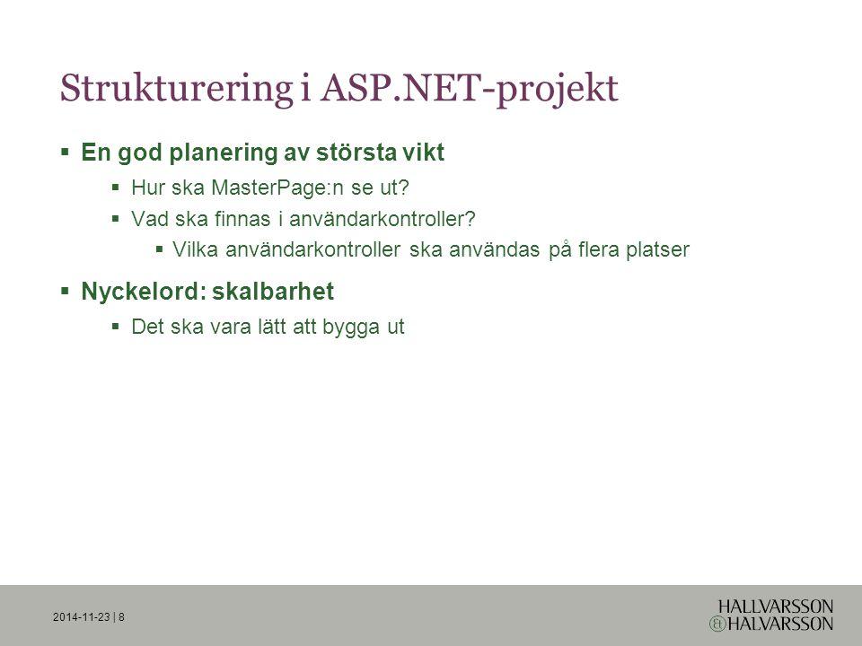 Strukturering i ASP.NET-projekt  En god planering av största vikt  Hur ska MasterPage:n se ut.
