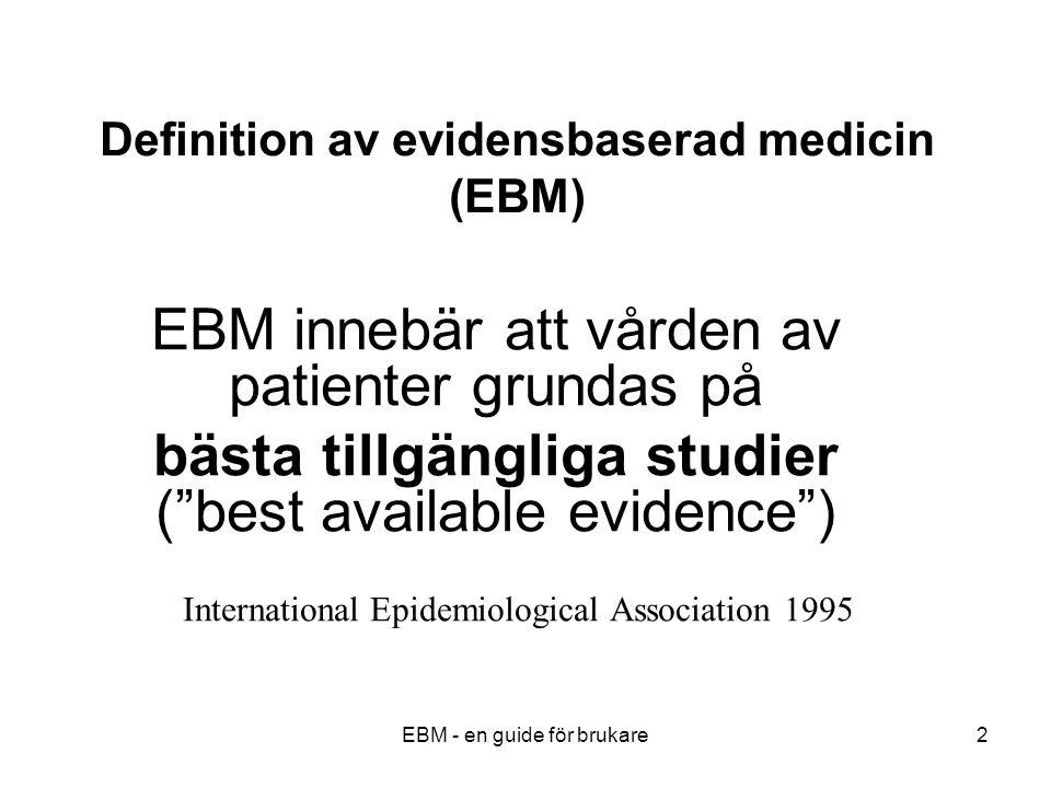 EBM - en guide för brukare23 Exempel på kohortstudie Överlevnad hos icke-rökande resp.