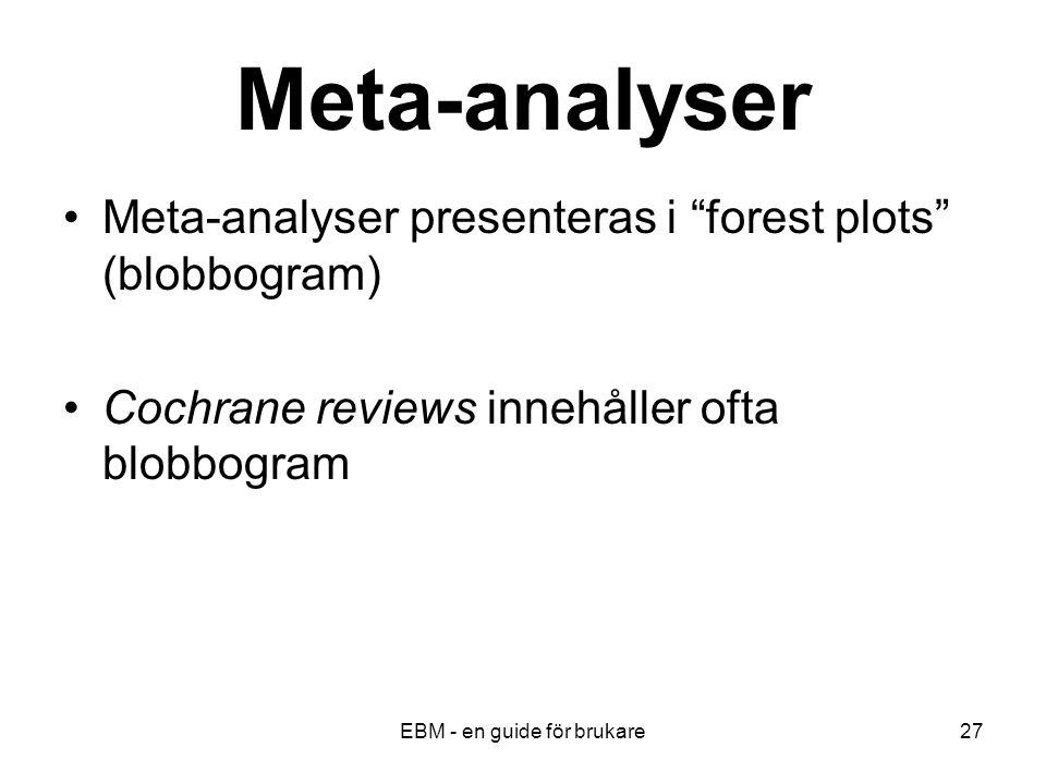 EBM - en guide för brukare27 Meta-analyser Meta-analyser presenteras i forest plots (blobbogram) Cochrane reviews innehåller ofta blobbogram