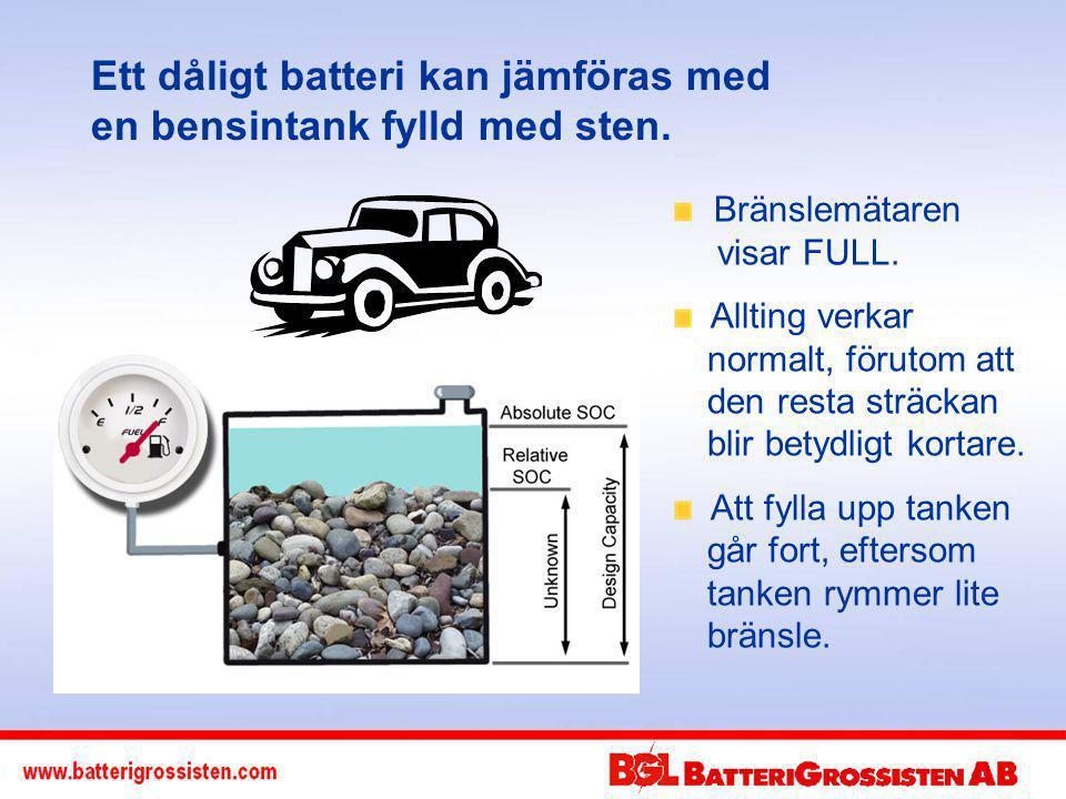 Ett dåligt batteri kan jämföras med en bensintank fylld med sten.