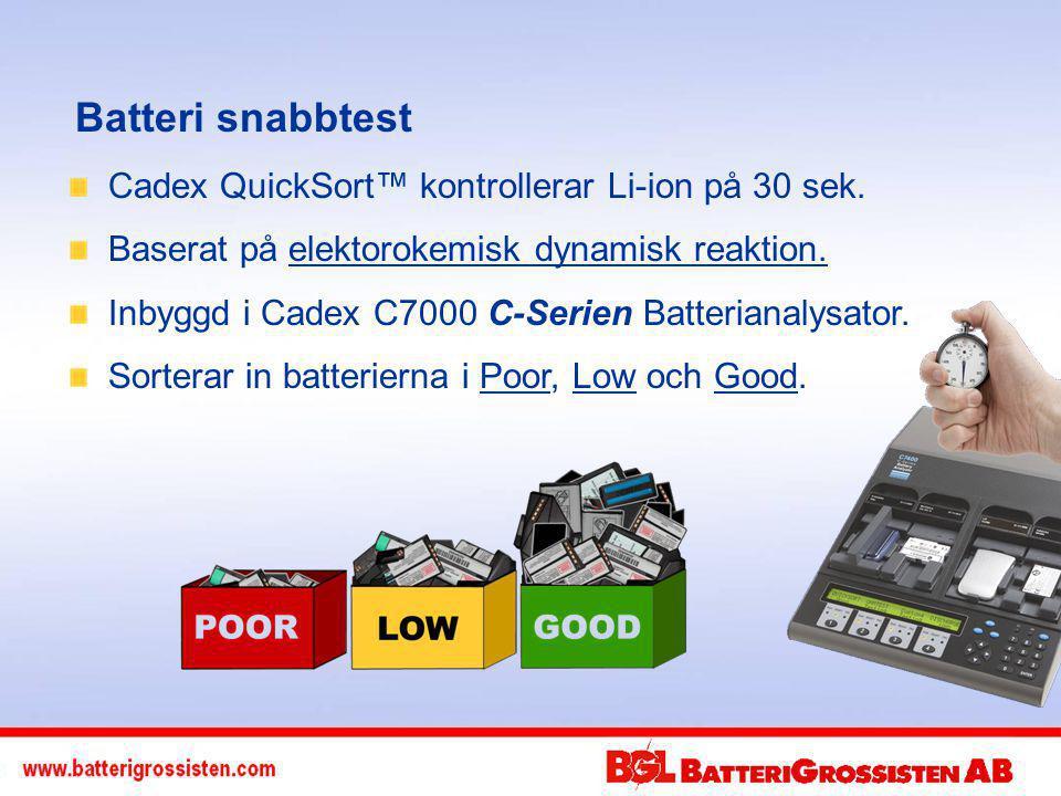 Batteri snabbtest Cadex QuickSort™ kontrollerar Li-ion på 30 sek.