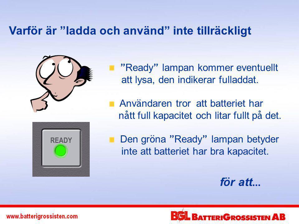 Varför är ladda och använd inte tillräckligt Ready lampan kommer eventuellt att lysa, den indikerar fulladdat.