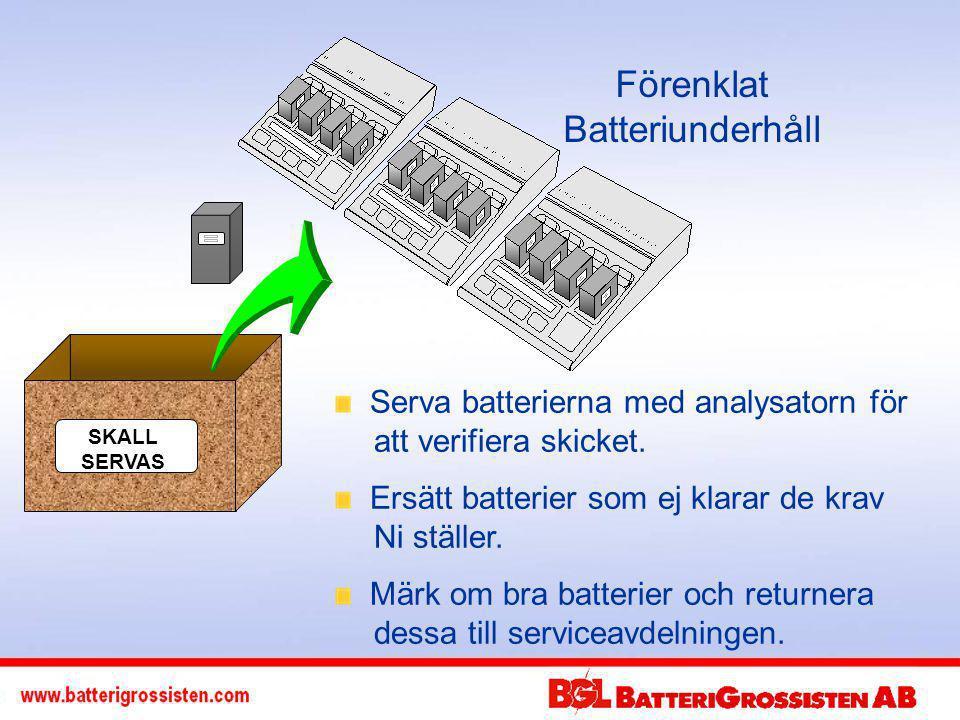 SKALL SERVAS Serva batterierna med analysatorn för att verifiera skicket.