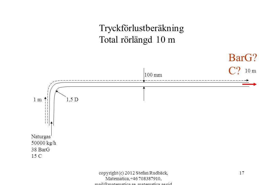 copyright (c) 2012 Stefan Rudbäck, Matematica,+46 708387910, mail@matematica.se, matematica.se sid 17 100 mm 1,5 D Naturgas 50000 kg/h 38 BarG 15 C 1
