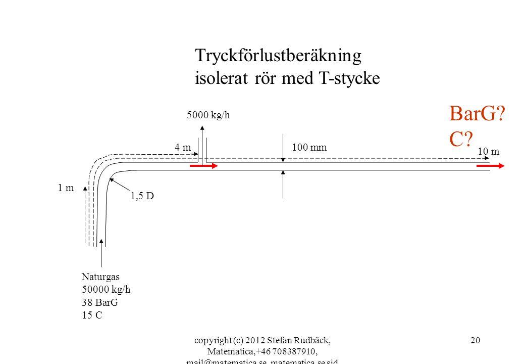 copyright (c) 2012 Stefan Rudbäck, Matematica,+46 708387910, mail@matematica.se, matematica.se sid 20 100 mm 1,5 D Naturgas 50000 kg/h 38 BarG 15 C 1