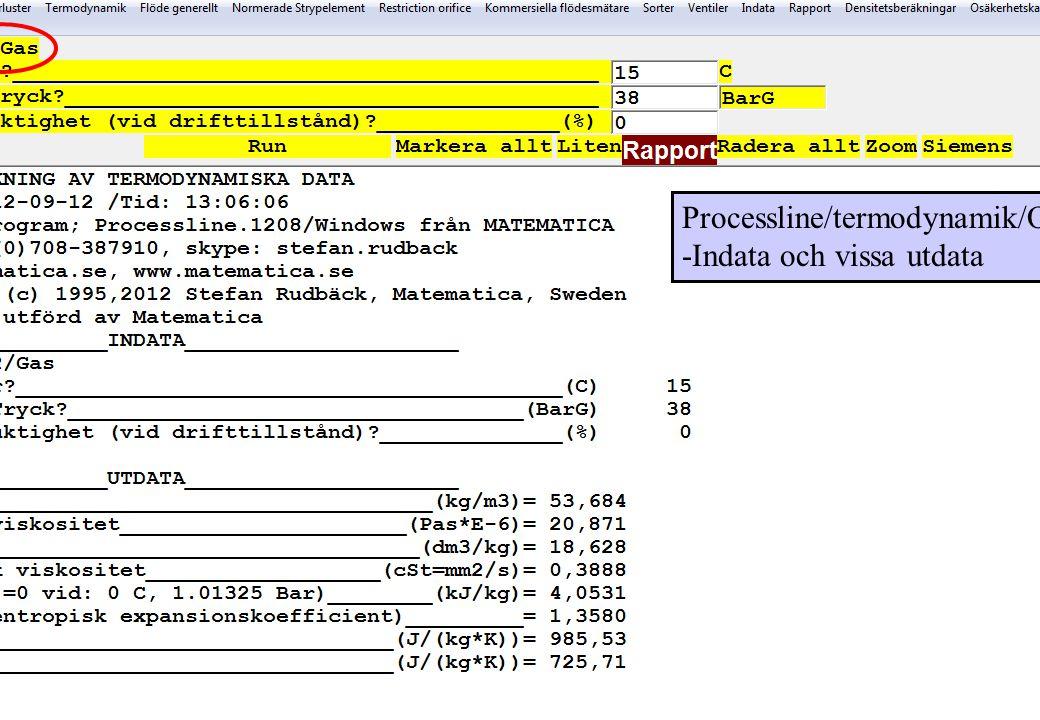 copyright (c) 2012 Stefan Rudbäck, Matematica,+46 708387910, mail@matematica.se, matematica.se sid 23 Processline/termodynamik/O2 -Indata och vissa ut