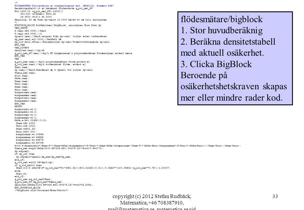 copyright (c) 2012 Stefan Rudbäck, Matematica,+46 708387910, mail@matematica.se, matematica.se sid 33 (* KODFABRIKEN;Tillverkning av standardiserad ko