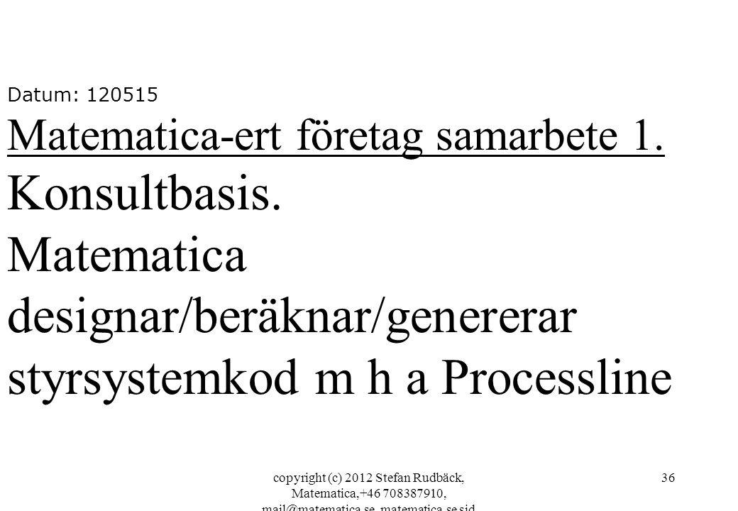 copyright (c) 2012 Stefan Rudbäck, Matematica,+46 708387910, mail@matematica.se, matematica.se sid 36 Datum: 120515 Matematica-ert företag samarbete 1