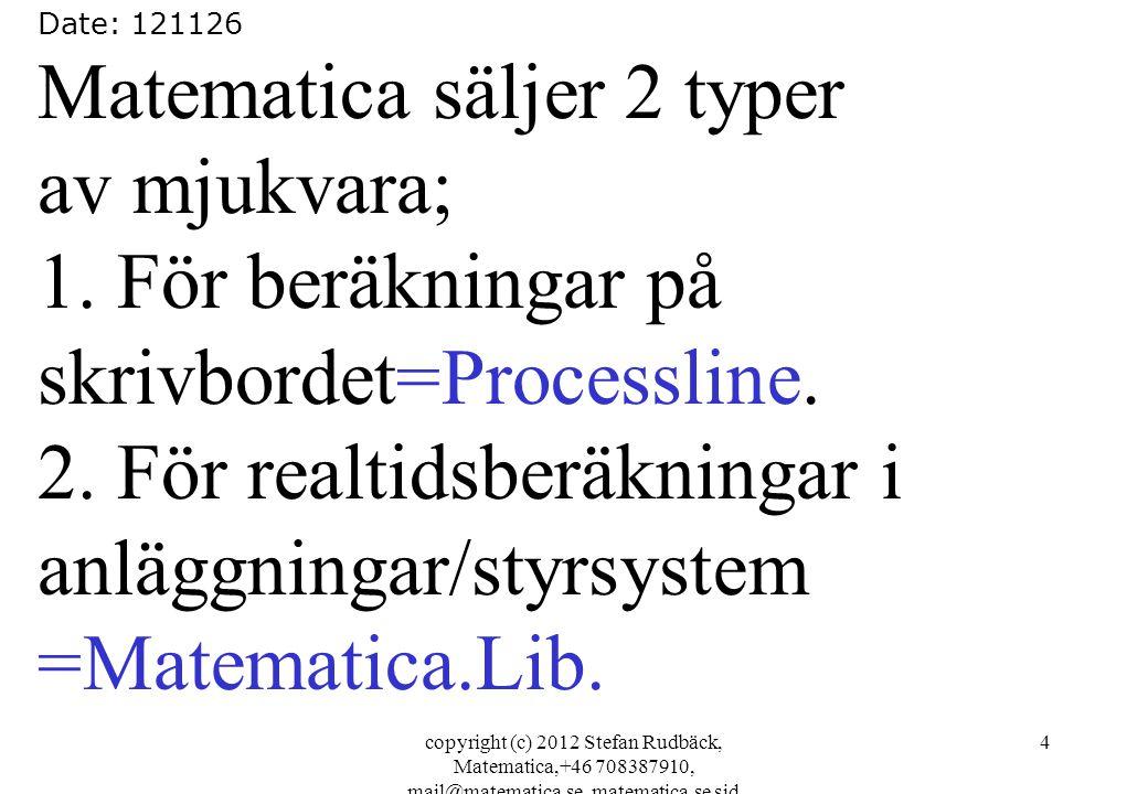 copyright (c) 2012 Stefan Rudbäck, Matematica,+46 708387910, mail@matematica.se, matematica.se sid 4 Date: 121126 Matematica säljer 2 typer av mjukvar