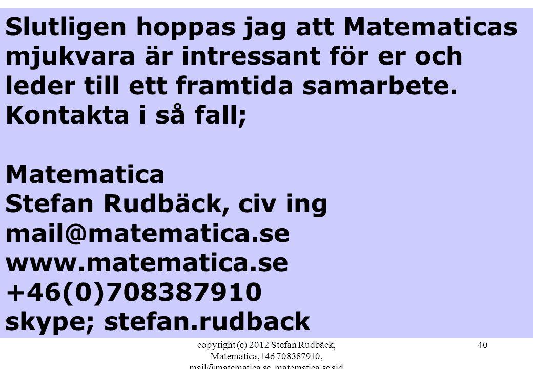copyright (c) 2012 Stefan Rudbäck, Matematica,+46 708387910, mail@matematica.se, matematica.se sid 40 Slutligen hoppas jag att Matematicas mjukvara är