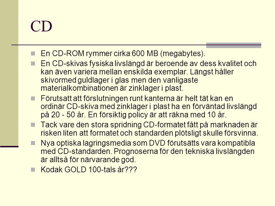 CD En CD-ROM rymmer cirka 600 MB (megabytes).