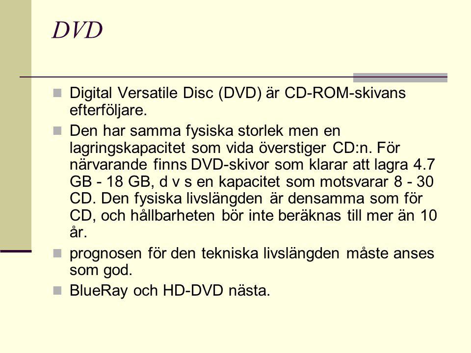 DVD Digital Versatile Disc (DVD) är CD-ROM-skivans efterföljare.