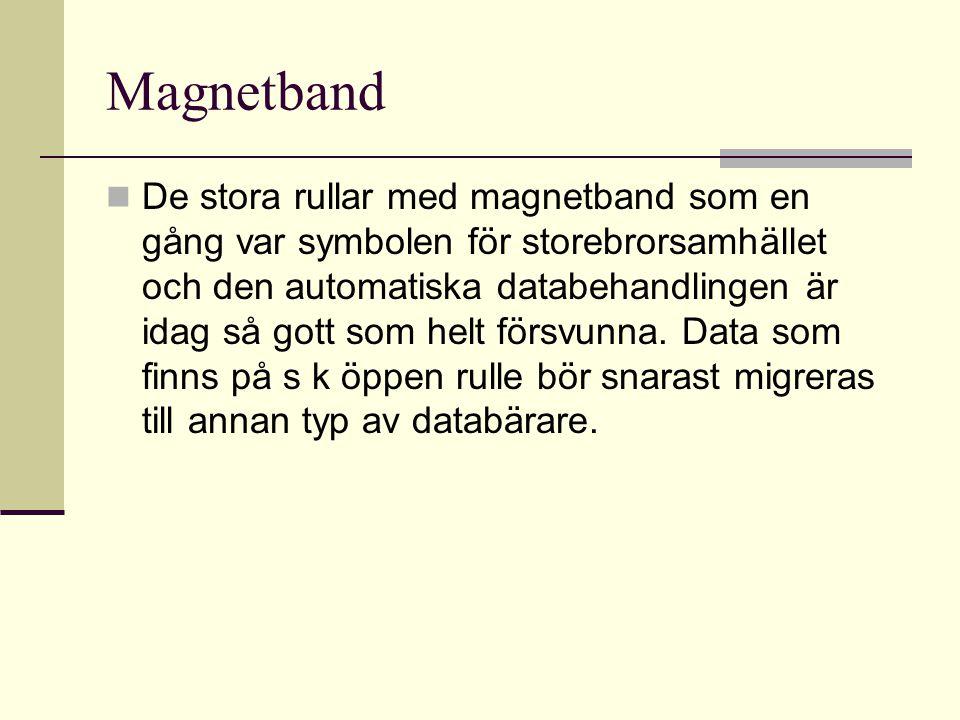 Magnetband De stora rullar med magnetband som en gång var symbolen för storebrorsamhället och den automatiska databehandlingen är idag så gott som helt försvunna.