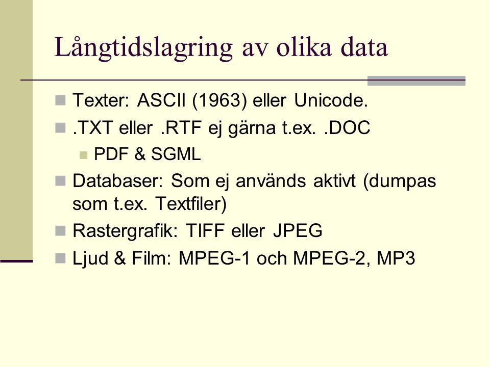 Långtidslagring av olika data Texter: ASCII (1963) eller Unicode..TXT eller.RTF ej gärna t.ex..DOC PDF & SGML Databaser: Som ej används aktivt (dumpas som t.ex.