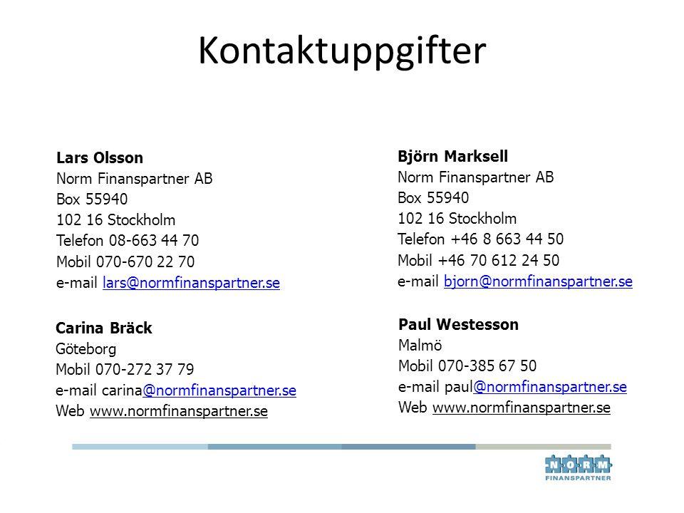 Kontaktuppgifter Lars Olsson Norm Finanspartner AB Box 55940 102 16 Stockholm Telefon 08-663 44 70 Mobil 070-670 22 70 e-mail lars@normfinanspartner.s