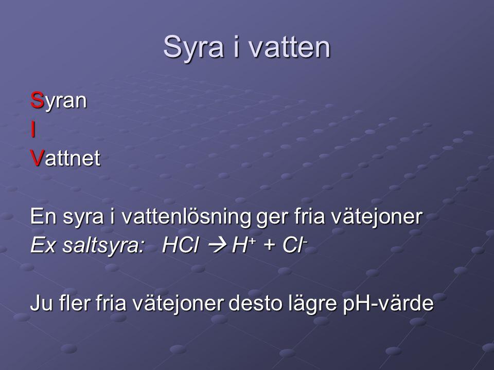 Syra i vatten Syran I Vattnet En syra i vattenlösning ger fria vätejoner Ex saltsyra: HCl  H + + Cl - Ju fler fria vätejoner desto lägre pH-värde