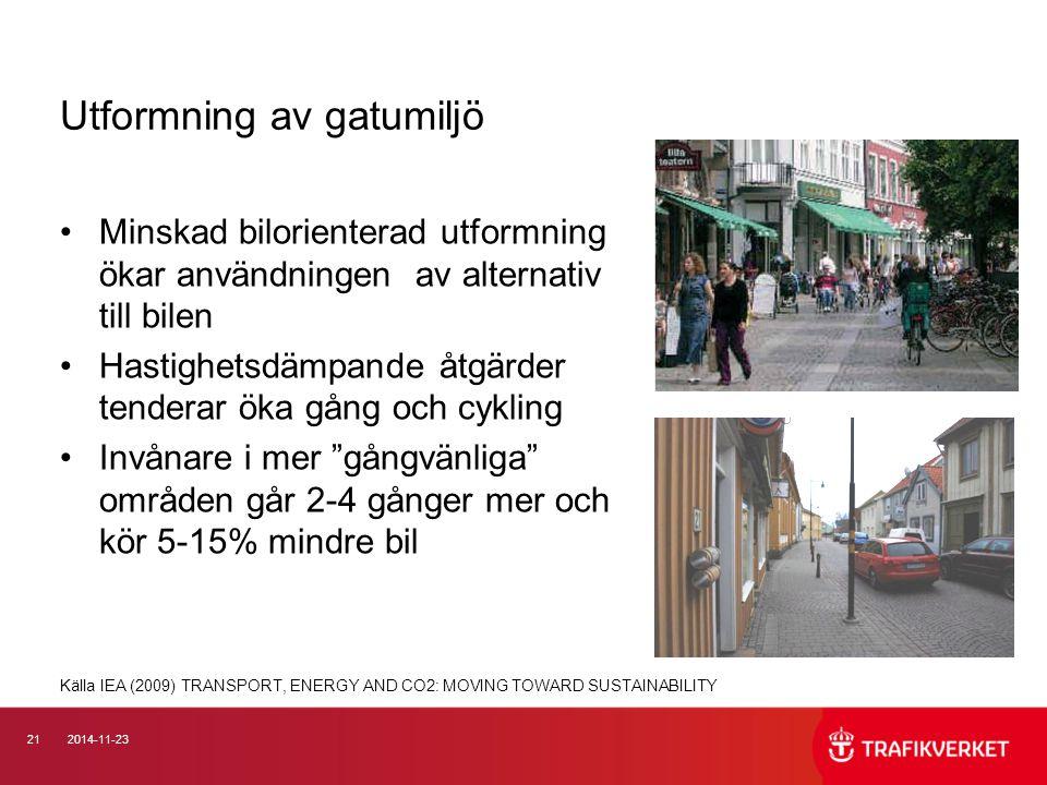 212014-11-23 Utformning av gatumiljö Minskad bilorienterad utformning ökar användningen av alternativ till bilen Hastighetsdämpande åtgärder tenderar