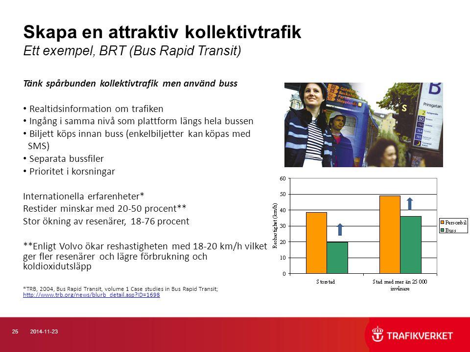 252014-11-23 Skapa en attraktiv kollektivtrafik Ett exempel, BRT (Bus Rapid Transit) Tänk spårbunden kollektivtrafik men använd buss Realtidsinformati